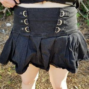 Punk goth pleated mini skirt